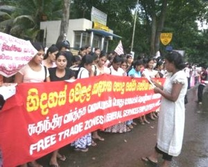 Sri Lanka - garment workers campaigning for better wages