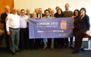 Playfair Brazil and UK trade unions supporting Playfair 2012